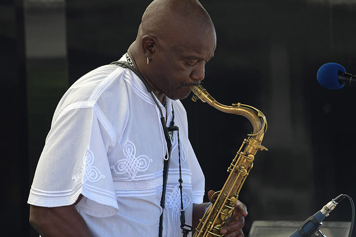 Saxophonist playing music