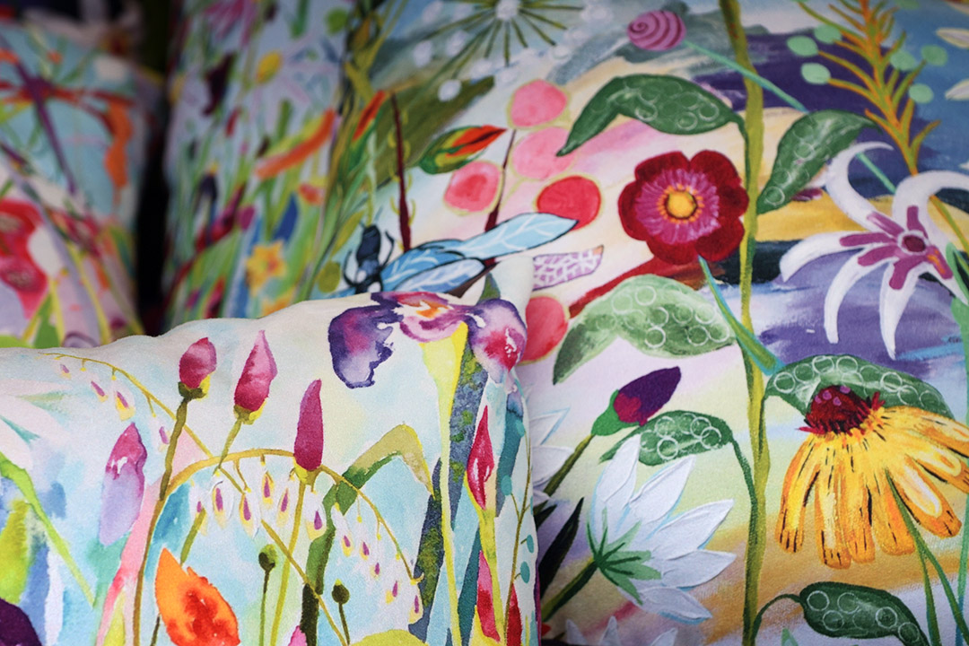 colourful watercolour flowers on cushions